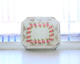 Antique White Ironstone Soap Dish Pink Roses Knowles Taylor Knowles