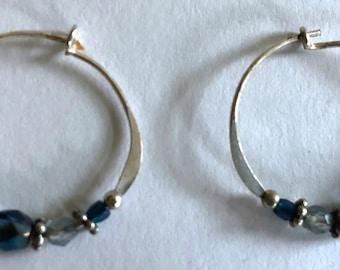 sterling silver hoops blue crystals earrings