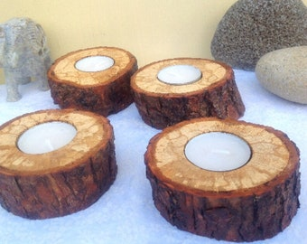 Candle holders - Live edge branch tealight holders - Set of 4 - Solid rustic oak wood - Wooden gift - Woodland eco - wedding or home decor