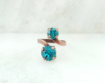 Blue Zircon Ring - Swarovski Crystal Ring - Spiral Ring with Stone - Blue Crystal Ring - Blue Rhinestone Ring - Antiqued Copper Ring R6001