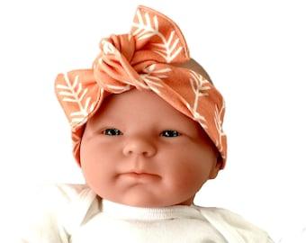 Organic headband, baby bow headband, baby girl headband, newborn headband, headwrap for baby, baby knot headband, top knot headband