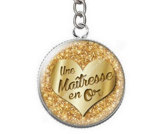 Keychain cabochon resin centerpiece gold b1