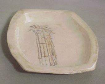 Sepia Stoneware Bamboo Serving Set