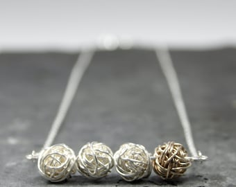 Petite Wire Bead Bar Necklace with Gold Bead