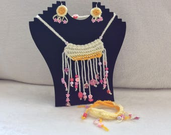 Crocheted and Knitted Jewellery Set