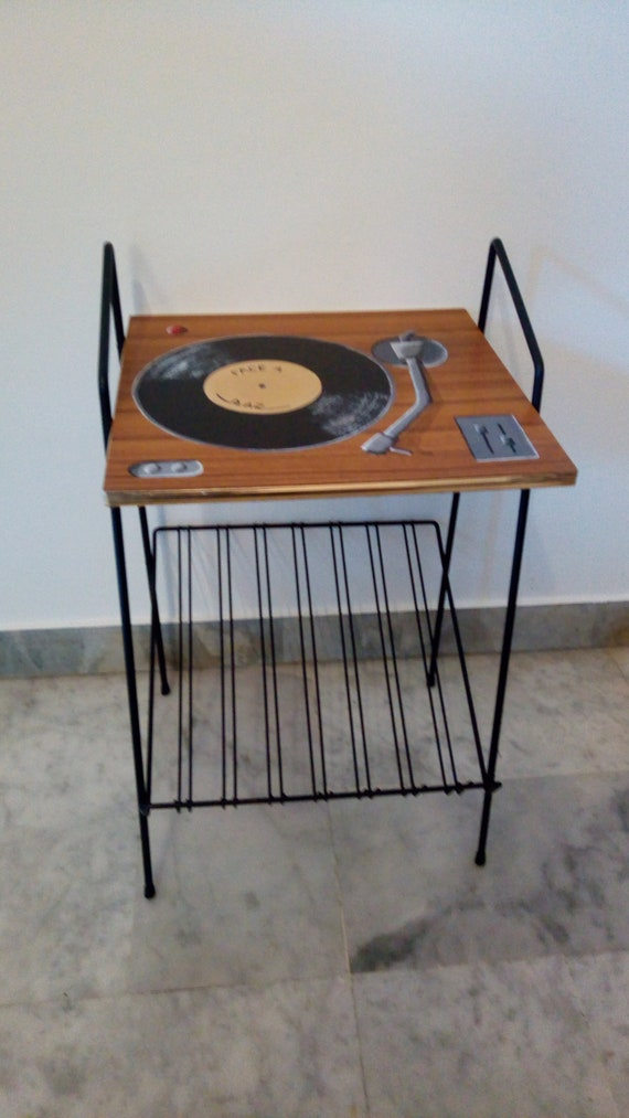 Meuble pour vinyles meuble tourne disques table vintage - Meuble pour tourne disque ...