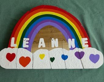 name puzzle, wooden puzzle, personalized puzzle, rainbow puzzle, child's puzzle, toddler puzzle, wood puzzle, kid's puzzle, children puzzle