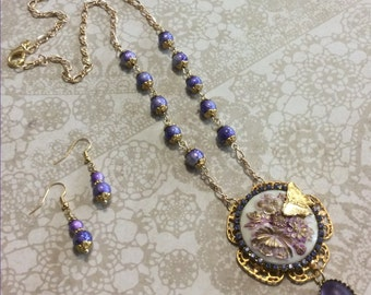 Floral Cab Necklace Set, Purple Cab, Handmade Jewelry, Dangle Earrings, Butterfly