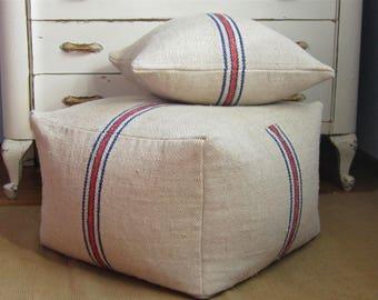 Authentic grain sack pouf cover, 22.5x22.5x16, XLarge pouf, grain sack floor pillow, rustic foot stool, antique hemp pouf, fabric ottoman