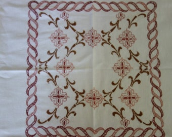 """Vintage French Hand Embroidery Square Tea Tablecloth 34"""" Arts and Crafts Design"""