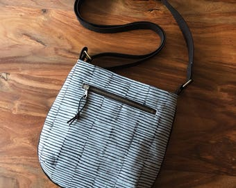 Small Rounded Adjustable Crossbody Trail Tote Bag - Gray and Black Stripes - Ready to Ship