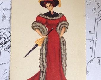 Vintage Edizioni Saemec S/052 Italian Postcard - Maiden in a Red Dress
