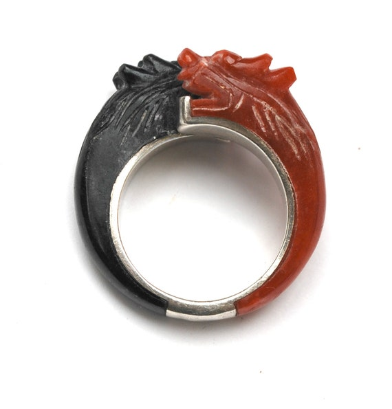 Dragon Ring Carved Carnelian Onyx sterling - red and black gemstone dragon head - size 10 -