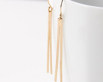 """Solid 14K gold earrings, sleek modern and lightweight design of two long connected rectangular shapes - """"Prong Earrings"""""""