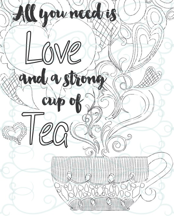 Adult Inspirational Coloring Page printable 08-A Cup of Tea