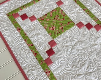 Quilted Spring Table Runner Extra Long Heavily Quilted Pink, Green, White