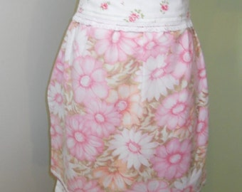 Hand Made Half Apron Prairie Farmhouse Country Bridal Hostess Gift Pink Daisies Roses Upcycled Linen