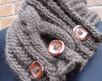 Wool Neck Warmer, Wool Neck Scarf, Buttoned Neck Scarf, Knitted Neck Warmer, Brown Neck Cowl, Brown Scarf, Brown Knitted Scarf, Knitted Cowl