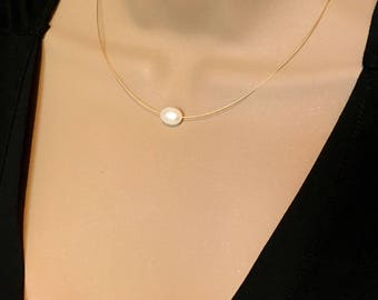 Gold Single Pearl Necklace Real Freshwater Pearl Necklace Floating Pearl Solitaire Necklace Single Pearl Bridesmaid Necklace Freshwater Real