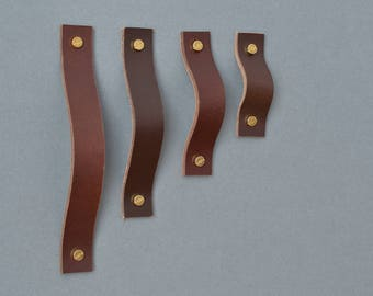 Lade Ny #4 Dark Brown Leather Handle / Leather Handles Leather Cabinet Hardware Leather Drawer Pulls Leather Cabinet Handle Cabinet Upgrade