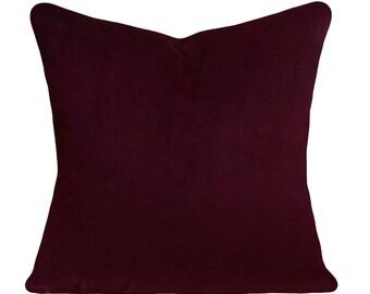 Burgundy Velvet Decorative Pillow Cover - Throw Pillow - Both Sides - 12x16, 12x20, 14x18, 14x24, 16x16, 18x18, 20x20, 22x22, 24x24, 26x26