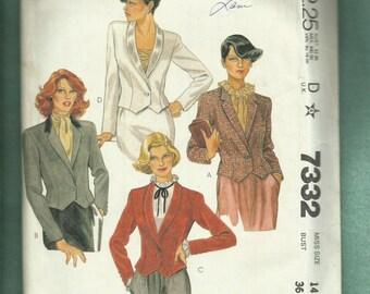 1980's McCalls 7332 Fitted Tuxedo Bolero JacketsSize 14 UNCUT