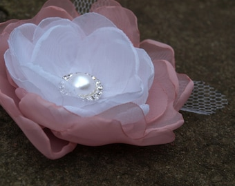 White and Pale Pink Flower Brooch or Hair Clip