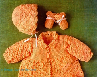 Baby 4ply Matinee Jacket Bonnet Bootees and Mitten 16 -22 ins - Argyll 289 -- PDF of Vintage Crochet Patterns - Instant Download