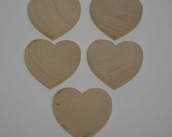 "2"" Wood Heart - Set of 5 Unfinished Wood Hearts - 1/4"" Thick Wooden Heart"