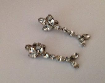 Vintage ASTRA Drop Rhinestone Clip Earrings by Joseph Wiesner