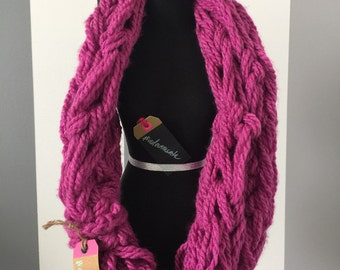 Xtra Wide Arm Knitted Infinity Scarf w/tie #adornments