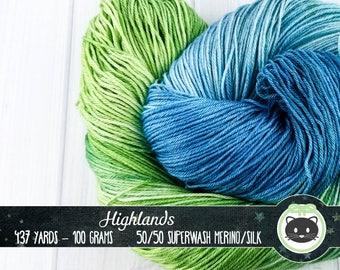 Blue and Green Hand Dyed Yarn, Sock Yarn, Merino Wool Yarn, Fingering Yarn, Variegated Yarn, Silk Yarn, SWM, Heirloom Luxe, Highlands
