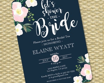 Navy Blush Bridal Shower Invitation Floral Bridal Shower Invite Shower the Bride ANY EVENT