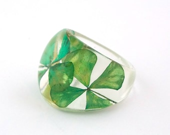 Four Leaf Clover Resin Ring.  Green Resin Ring.  Pressed Flower Ring.  Handmade Jewelry with Real Flowers - 4 Leaf Clover