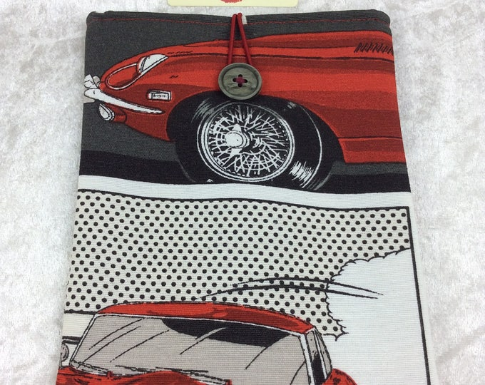 Handmade Tablet Case Cover Pouch iPad/Kindle SMALL E-Type Jaguars