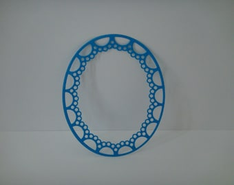 Cut oval frame with ornaments blue for creation