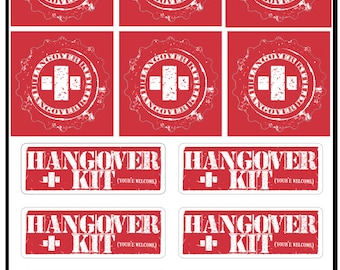 Stickers for 6 DIY Hangover Kits