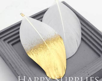 4Pcs 100mm White Duck Feather with Gold Dipped, Jewelry Supplies (DT091)