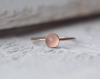 Pink Gemstone Ring- Chalcedony Ring, Gold Dainty Ring, Stacking Ring, Stackable Ring, Pink Chalcedony Ring, Gold Pink Ring