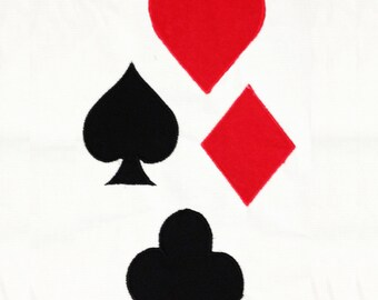 Playing card symbols: club, heart, diamond and spade machine embroidery and appliqué designs. Playing card symbols are great for home decor.