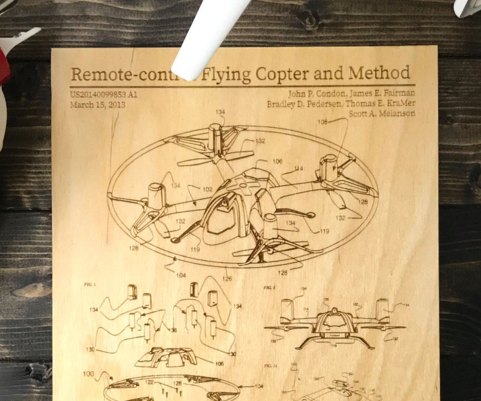 Quadcopter Drone Patent Engraving Wall Art on Wood Man Cave