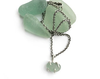 Aqua Seaglass Beach Glass Claw Prong Set Necklace Sterling Silver 18 Inch Cable Chain