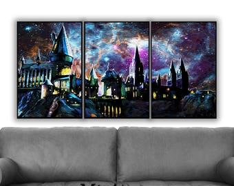 Harry Potter Set of 3 Prints, Harry Potter Print, Wall Art Decor, Harry Potter Wall Art, Harry Potter Poster, Galaxy Art Print, Potter Gift