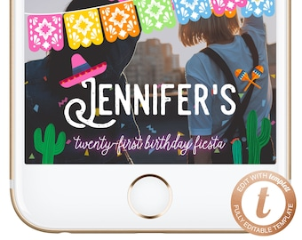 INSTANT DOWNLOAD Snapchat Geofilter Fiesta Snapchat Filter Mexican Themed Birthday Geofilter Fiesta Themed Party Geofilters Templett