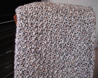 Gray/Tan/White Afghan, Throw Blanket, Sofa Throw, Crocheted Blanket, Crocheted Throw, Housewarming Gift, Hostess Gift
