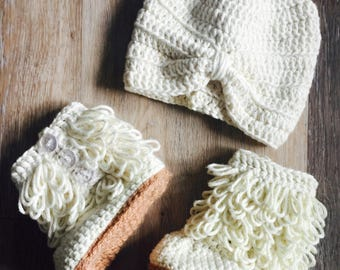 Furrillicous Baby Booties with Baby Turban