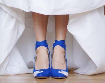 Blue Wedding Shoes,Blue Heels,Bridal Shoes,Wedding Heel,Blue Bridal Heel,Gift,Bride,High Heels,Something Blue,Blue Pumps with Ivory Lace