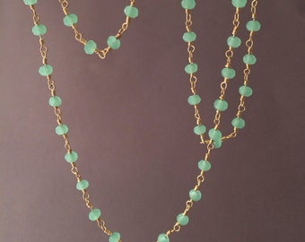Long or Short Green Chalcedony Stone Gold Beaded Necklace