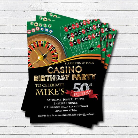 Casino 50th Birthday Invitation. Adult Man Birthday Surprise