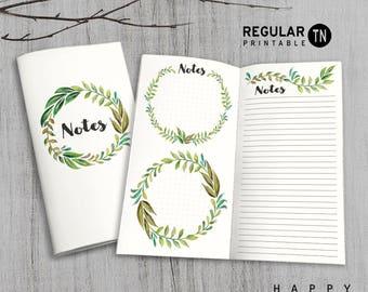 Printable MTN Insert - Regular notes Insert - Midori notes insert, Notes Traveler's Notebook Insert - Green Leaves